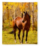 Beautiful Autumn Horse Fleece Blanket