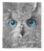 Beautiful Blue-eyed Owl Fleece Blanket