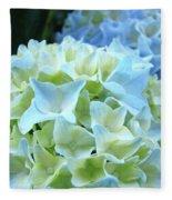 Beautiful Blue Hydrangea Floral Art Prints Creamy White Pastel Fleece Blanket
