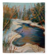 Beautiful Brook In Winter Fleece Blanket