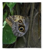 Beautiful Brown Morpho Butterfly In A Lush Garden  Fleece Blanket