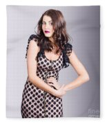 Beautiful Brunette Girl Wearing Retro Zipper Dress Fleece Blanket