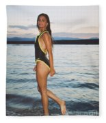 Beautiful Brunette On The Beach Fleece Blanket
