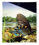 Beautiful Butterfly At The River II Fleece Blanket