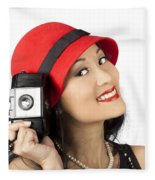Beautiful Chinese Woman Holding Old Film Camera Fleece Blanket