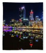 Beautiful Cityscape At Perth's Elizabeth Quay  Fleece Blanket