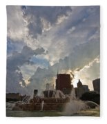 Beautiful Clouds Over Buckingham Fountain Fleece Blanket