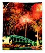 Beautiful Colorful Holiday Fireworks 2 Fleece Blanket