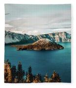 Beautiful Crater Lake Fleece Blanket