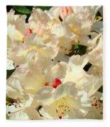 Beautiful Creamy White Pink Rhodies Floral Garden Baslee Troutman Fleece Blanket