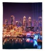 Beautiful Famous Downtown Area In Dubai At Night, Dubai, United Arab Emirates Fleece Blanket