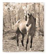Beautiful Horse In Sepia Fleece Blanket