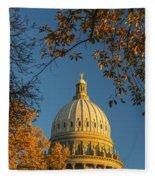 Beautiful Idaho State Capitol In Autumn Morning Fleece Blanket