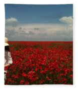 Beautiful Lady And Red Poppies Fleece Blanket