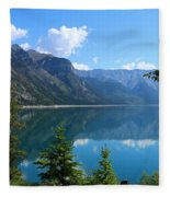 Beautiful Lake Minnewanka Fleece Blanket