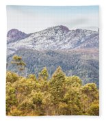 Beautiful Landscape With Partly Snowed Mountain  Fleece Blanket