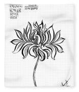 Beautiful Lotus... Black-white Mood Fleece Blanket