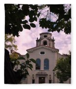 Beautiful Mason Hall - Pomona College - Trees Framing Fleece Blanket