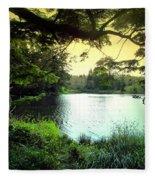 Beautiful Mountain Lake Fleece Blanket