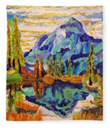Beautiful Mountainous Reflection  Fleece Blanket