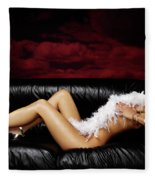 Beautiful Naked Woman On A Couch Fleece Blanket