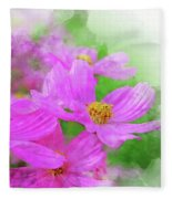 Beautiful Pink Flower Blooming For Background. Fleece Blanket