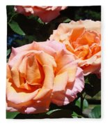 Beautiful Pink Orange Rose Flowers Garden Baslee Troutman  Fleece Blanket