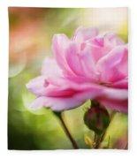 Beautiful Pink Rose Blooming In Garden With Natural Bokeh Fleece Blanket