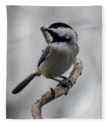 Beautiful Pose - Black-capped Chickadee Fleece Blanket