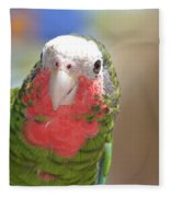 Beautiful Red Feathers On The Throat Of A Green Conure Bird Fleece Blanket