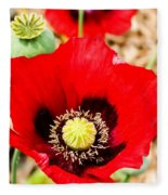 Beautiful Red Poppy Fleece Blanket