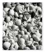 Beautiful Seashells Black And White Fleece Blanket