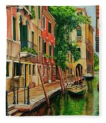 Beautiful Side Canal In Venice Fleece Blanket