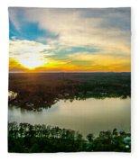Beautiful Sunset Over Lake Wylie South Carolina Fleece Blanket