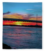 Beautiful Sunset Under The Bridge Fleece Blanket