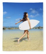 Beautiful Surfer Girl Fleece Blanket