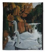 Beautiful Swans Moving In The River Path Fleece Blanket