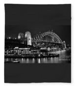 Beautiful Sydney Harbour In Black And White Fleece Blanket