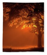 Beautiful Trees At Night With Orange Light Fleece Blanket