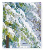 Beautiful Trees Covered With Snow In Winter Park Fleece Blanket