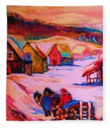 Beautiful Village Ride Fleece Blanket
