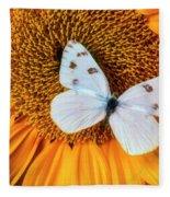 Beautiful White Butterfly On Sunflower Fleece Blanket
