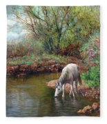 Beautiful White Horse And Enchanting Spring Fleece Blanket