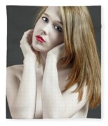 Beautiful White Woman On Red Chair Fleece Blanket
