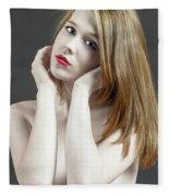 Beautiful White Woman On Red Chair Fleece Blanket