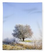 Beautiful Winter Background With Snow Tipped Trees Fleece Blanket