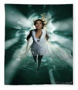 Beautiful Woman Diving In The Water Fleece Blanket