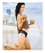 Beautiful Woman In Beach Heaven Fleece Blanket