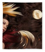Beautiful Woman With Colorful Hair Extensions Fleece Blanket