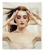 Beautiful Woman With Windswept Hair Fleece Blanket